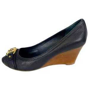 CARNELL Tory Burch Black Pebbled Leather Low Wedge